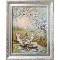 """Картина із бурштину """"Лебеді на річціі"""" 30х40 см"""