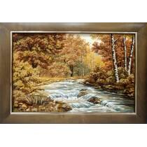 """Картина із бурштину """"Гірська річка"""" 40x60 см"""
