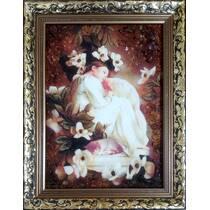 """Картина з бурштину """"Дівчинка в квітах"""" 20х30 см"""