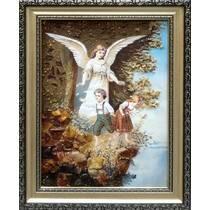 """Ікона із бурштину в дитячу кімнату """"Ангел і діти"""" 20х30 см без скла"""