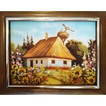 """Картина із бурштину """"Українська хатинка"""" 15х20 см"""