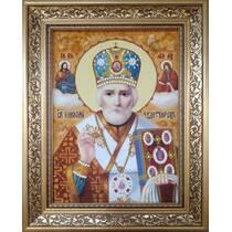 Ікона святого Миколая Чудотворця з бурштину 20х30 см без скла