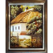 """Картина із бурштину """"Сільська хатинка"""" 15х20 см"""