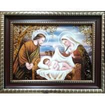 """Ікона із бурштину """"Святе сімейство"""" 30х40 см без скла"""