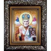 """Ікона із бурштину """"Святий Миколай"""" 15х20 см в склі"""