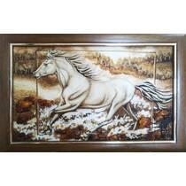 """Картина із бурштину """"Білий кінь"""" 30х50 см"""