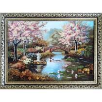 """Картина із бурштину """"Цвітіння сакури"""" 40х60 см"""