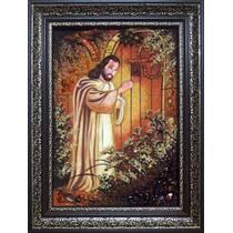 """Ікона із бурштину """"Ісус стукає у двері"""" 30 х 40 см без скла"""