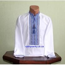 рубашка вышитая ручной работы для парня с желто-голубым узором