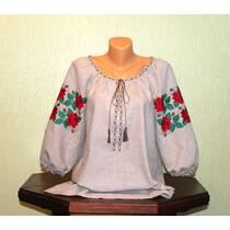 Женская вышитая рубашка на сером льне с розами. ручная работа