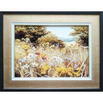 """Картина із бурштину """"Польові квіти"""" 30х40 см"""
