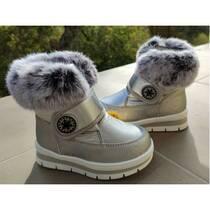 Зимние ботинки с мехом для девочки Clibee NA89 серого цвета