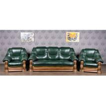 Шкіряний диван з 2ма кріслами Лорд з цільним деревяним каркасом ясень