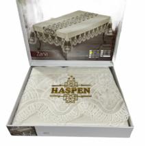 Скатертина з серветками Haspen Zana Krem 160-220 см велюр кремова