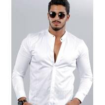 Белая строгая приталенная рубашка с воротом стойка S, M, L, XL, XXL