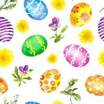 Декоративная ткань разноцветные раскрашенные пасхальные яйца с цветами