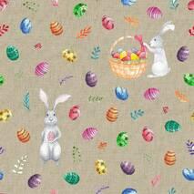 Декоративная ткань пасхальные зайцы с яйцами на бежевом фоне 280см