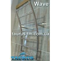 """Полотенцесушитель из нержавеющей стали Wave 8 перемычек, стойки в форме волны. Водяной, подключение 1/2"""" 450"""