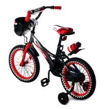 Велосипед двухколесный 16д 1687-16 черно-красный с корзинкой и светящимся колесом