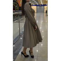 Платье плиссе Мария кофе с молоком креп-костюмка