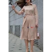Платье Мария плиссе солнце-клеш Нюдовый горошек