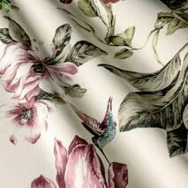 Ткань декоративная розовые колибри опыляющие цветы с тефлоном для штор 81372v38