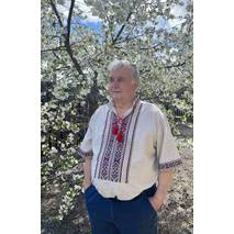Чоловіча сорочка-вишиванка на сірому полотні, ручна робота