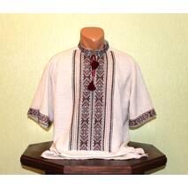 мужская рубашка-вышиванка на сером полотне. ручная работа.