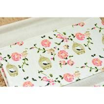 Підвісний органайзер з кишенями білий Канарка і троянди 3 кишені