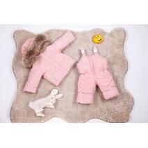Зимовий дитячий комбінезон з курткою для дівчинки Natalie Look 98-104 см рожевий