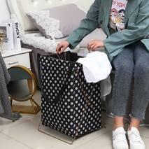 Корзина-сумка для белья игрушек черная Белый горох