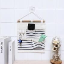 Підвісний органайзер з кишенями білий Смуга 4 кишені