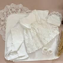 Набор на хрестини для дівчинки (сукня, штанці, пінетки, шапочка і крыжма) 68 молочний
