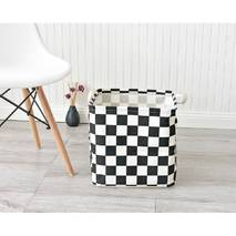 Кошик для іграшок квадратна біла шахівниця