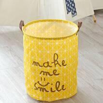 Корзина для белья и игрушек желтая Улыбка