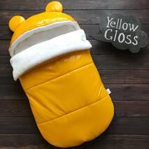 Конверт кокон зимний на выписку и прогулку Gloss 70х40 см желтый