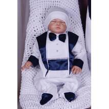 Хрестильний набір для хлопчика (крыжма, костюм і шапочка) Маленький принц 62 біло-синій