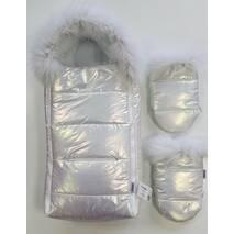 Конверт для новорожденных зимний с муфтой Flavien КВ1020 56-68 см серебристый