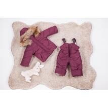 Зимовий дитячий комбінезон з курткою дитячий Natalie Look Пушок 86-92 см бордовий