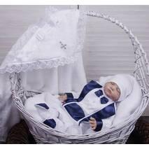 Хрестильний набір для хлопчика (крыжма, костюм і шапочка) Маленький принц 68 біло-синій