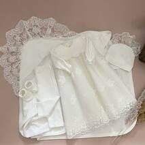 Комплект на хрестини для дівчинки (сукня, штанці, пінетки, шапочка і крыжма) 62 молочний