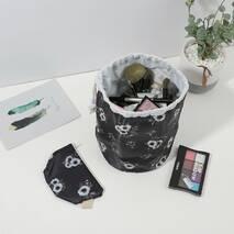 Кошик на зав'язках з чохлом для дрібниць чорна Білі Квіти