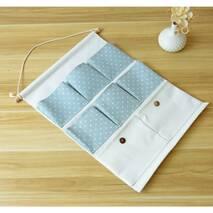 Підвісний органайзер з кишенями білий Горошок 8 кишень
