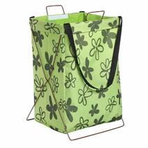 Корзина-сумка для белья игрушек зеленая Нарисованные цветы