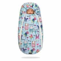 Зимний конверт для новорожденного на выписку и прогулку Baby XS 56-74 Рисунки на Голубом фоне с Опушкой