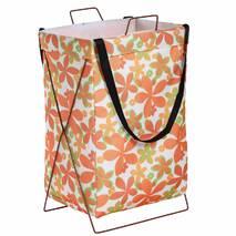 Корзина-сумка для белья игрушек белая Оранжевые цветы