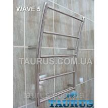 """Водяний полотенцесушитель з н/же стали Wave 5; Вигнутий у формі морської хвилі. Підключення 1/2"""". Низький 400"""