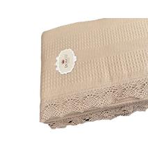 Комплект летнего постельного белья DO&GO Dantelli Pike Beige ранфорс 240-220 см бежевый
