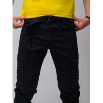 Штаны карго Satoshi чорные с рефлективом на липучке Custom Wear S