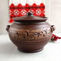 Бульонница 2.5 л с резкой из красной глины, украинская керамика (6)